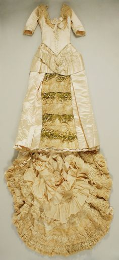 Wedding Dress 1885, American, Made of silk