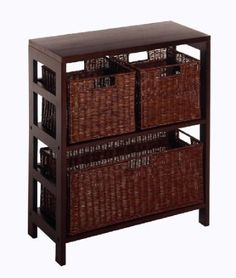 $98 Amazon.com: Winsome Wood Leo Wood 3 Tier Shelf with 3 Rattan Baskets - 1 large; 2 small in Espresso Finish: Home & Kitchen