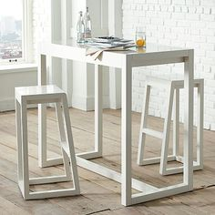 Alto Bar Stool and Table: Simple and clean. Chocolate Oak or Polished white.
