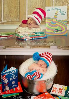 Dr. Seuss Prop Package - Stocking Hat and Leg Warmers -  Crochet Cat in The Hat Set - Baby Crochet Hat - Photo Prop