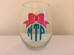 Stemless Monogram Glass, Personalized Glass, Monogrammed Wine Glass on Etsy, $6.00