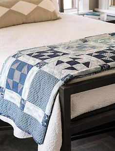 Patchwork Blues quilt easy quilt shoo fly block quilt triangle squares quilt