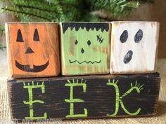 primative wood pumpkiins | Primitive Pumpkin Monster Ghost EEK Halloween Shelf Sitter Wood Blocks