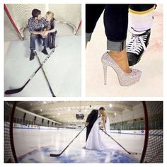 engagment pictures/ wedding pictures.. But instead of a heel I'm wearing my skates too :)