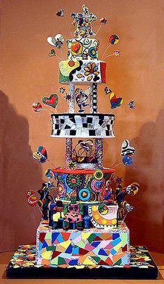 Mosaic cake inspired by the artwork of Niki de Saint Phalle