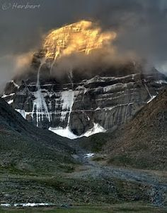 Mt. Kailash is a mountain in western Tibet.  It lies near the source of some of the longest rivers in Asia: the Indus River, the Sutlej River (a major tributary of the Indus River), the Brahmaputra River, and the Karnali River (a tributary of the Ganges River). It is considered a sacred place in four religions: Bön, Buddhism, Hinduism and Jainism.