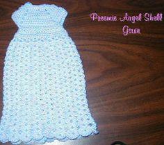 Preemie Angel Shell Gown free crochet pattern