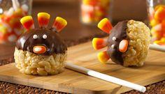 thanksgiving turkey, rice krispies treats, cake pops, krispie treats, thanksgiving snacks
