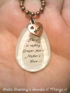 Love for Mom Quote Necklace. There is nothing Greater than a Mother's Love. by HelloShammys, $15.00