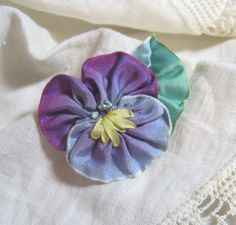 """This gorgeous pansy pin was made by my friend Linda.  Check out all of the """"pretties"""" in her shop!  www.etsy.com/shop/Quiltcatrose"""