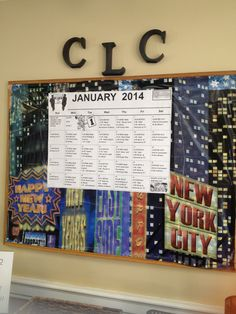 January board -- Found NYC wrapping paper.