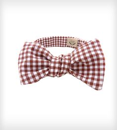 Brown & White Gingham Bow Tie//