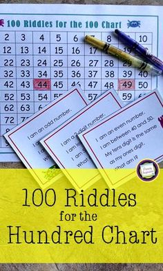 "Build math vocabulary and concepts with this set of 100 riddle task cards for the numbers 1-100. Great spiraled practice for grades one and two! Also includes games and an independent activity. <a href=""https://www.teacherspayteachers.com/Product/First-Grade-and-Second-Grade-Math100-Riddle-Cards-for-the-Hundred-Chart-191803"" rel=""nofollow"" target=""_blank"">www.teacherspayte...</a>"