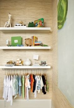 Just 1 IKEA shelf and a towel bar! Going to do this for my sons room which is without a closet at the moment