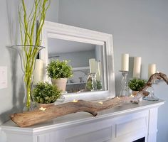 driftwood, mantel, candle holders, family rooms, corner fireplaces, tree branches, hous, mantl, tea lights