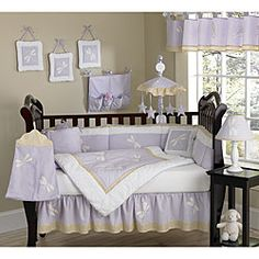 @Overstock - This dragonfly themed 9-piece baby bedding set was created by JoJo Designs. This set includes a blanket, crib bumper, crib skirt, fitted sheet, toy bag, decorative throw pillow, diaper stacker, and two window valances.http://www.overstock.com/Baby/Purple-Dragonfly-9-piece-Crib-Bedding-Set/5298480/product.html?CID=214117 $179.99