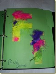 First, our craft page (it's certainly not original, but feathers are always fun!) – Feathers for F of course: sound craft, feather, alphabet craft, letter activ