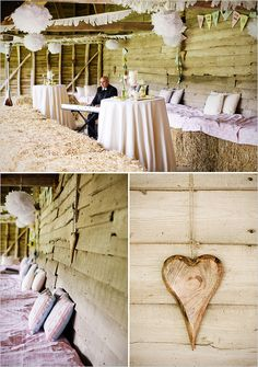 barn wedding a lot like my outdoor grad party..we sat on fabric covered hay bales
