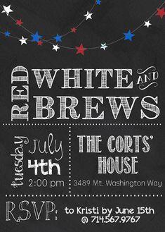 Chalkboard Fourth of July Invitation