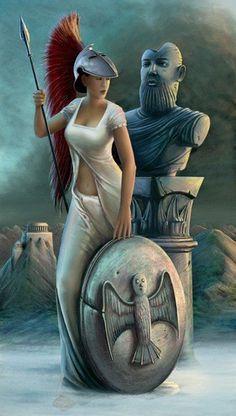 Minerva, a deusa da sabedoria, era filha de Júpiter. Contava-se que saíra da cabeça do deus, já adulta e revestida de armadura completa. Além de padroeira das artes úteis e ornamentais, tanto dos homens — como a agricultura e a navegação — quanto as das mulheres — como a fiação, tecelagem e os trabalhos de agulha —, era também uma divindade guerreira; só protegia, porém, a guerra defensiva e não simpatizava com o selvagem amor de Marte pela violência e pelo derramamento de sangue.