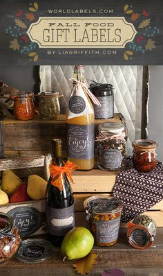 Fall Gift Labels - use for jars, pantry organizing and more: Free printabels by @lia griffith