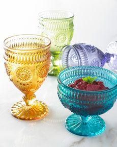 Vintage glass goblets and compote...pretty colors!