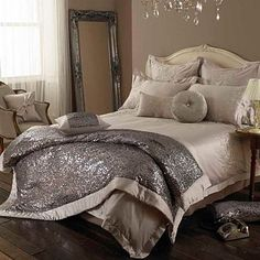 Praline Brava bed linen has crystallized Swarovski elements..glamour.. #bedding #silver #debenhams
