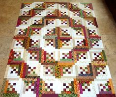 LOG CABIN in the WOODS Quilt Top.