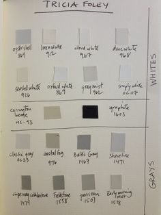 Designer's favorite whites, neutrals  grays. Designer Tricia Foley's Benjamin Moore favorites.  Great picks!