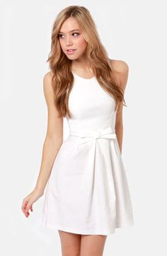 Little White Dress with Tiny Bow