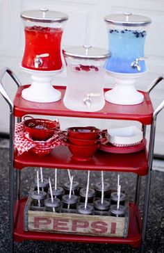Patriotic picnic drink station for your Fourth of July bash!
