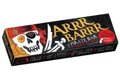 Arrr Barrr - Chewy and delicious fruit and nut bar Fun packaging includes foldout four panel box full of fun and activity, including pirate trivia and cut-out pieces of eight. $4.95.