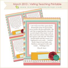 Free March 2013 Visiting Teaching Printable | Mormon Mommy Blogs