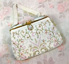 Vintage French Beaded Purse in White Micro Bead by autena on Etsy, $50.00