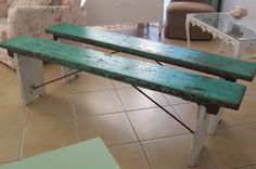 What a cool color. The distressing reminds me of an outdoor park bench!  #distressing #bench #outdoor #parkbench