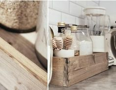 kitchens, idea, kitchen storage, scandinavian style, glass containers, wooden boxes, wood boxes, wooden crates, kitchen stuff