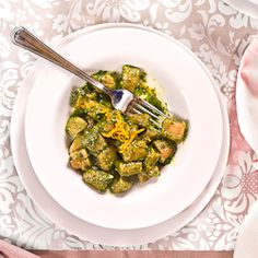 Lentil and potato gnocchi with kale pesto.