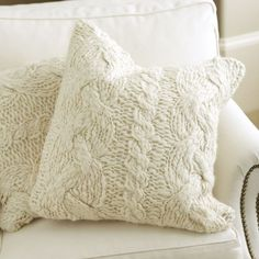 cream cable knit pillows