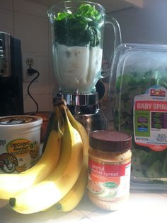 Delicious Green Smoothie - healthy and tastes amazing! 1 Cup Vanilla Yogurt - 1/2 to 1 Cup Milk (Unsweetened Vanilla Almond Milk) - 1 Banana, diced - 1 Tbsp Peanut Butter - 3-4 Cups Baby Spinach