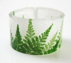 Spring Fern, Handmade Plastic Ring, $7