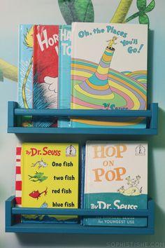IKEA spice racks turned bookshelves via @Sheena Birt Tatum (Sophistishe.com)