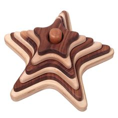 Seven Acre Toys Star: Stacker Wooden Toy Maple/Walnut.