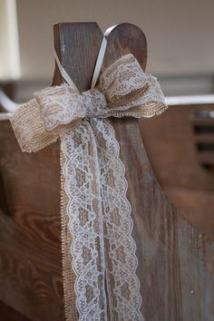 """Burlap Pew Bows """"The burlap wedding look is hotter than ever right now. We are seeing brides use burlap as the foundation of their country rustic wedding color palette. These super sweet burlap and lace pew bows from The PeaPickin Heart are the perfect addition to any indoor or outdoor ceremony and bring a classic country charm."""" Decor, Wedding Planning Ideas, Pew Bows, Burlap Bow Wedding, Lace Pew, 12 Bow, Burlap Bows, Bow 12, Country Rustic"""