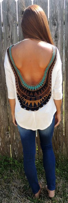 Molly Open Back Top in White. Love rhis back