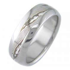 Boone Titanium Ring Shakudo and Silver Twist Mokume Inlay