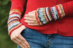 Denim Stripes Wrist Warmers, part of Crochet!'s FREE Quick Gift Crochet Pattern of the Month. Get the download here: http://www.crochetmagazine.com/crochet_project.php?fcebkcc