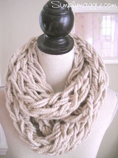 Taupe Arm Knit Infinity Scarf