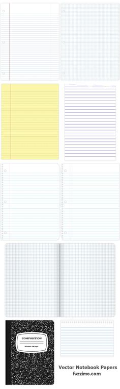 Free Vector Notebook Papers and Cover