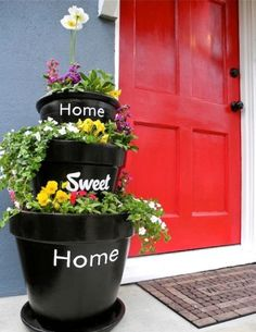 DIY Stacked Planters With Inscriptions For Your Home, Sweet Home