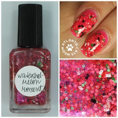 atlcatsmeow #lynnderella LE Watershed-Melon Moment is a blend of shades of watermelon, black and white rectangular seeds and assorted bits of green rind in a pink-shimmered translucent red base. Matching microglitter accent. Shown over #colorclub Jackie Oh #lovelynnderella